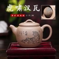 Yixing Raw Erz Grau Kalk Abschnitt Schlamm Dark rot Emaillierte Keramik Teekanne Berühmte Manuelle Tiger Roar Han Fliesen teekanne Tee Set-in Teekannen aus Heim und Garten bei