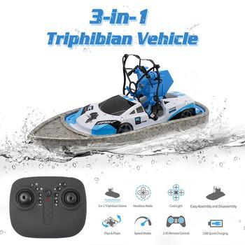 Mini RC Auto | Gw123 RC Mini Drone Boot Auto Triphibian Fahrzeug Hubschrauber Drone Quadrocopter Fernbedienung Spielzeug Für Jungen Mädchen