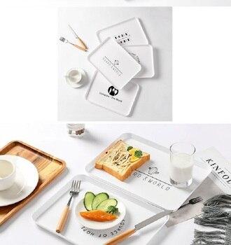 Пластиковый поднос для еды, поднос для чая, завтрака, хлеба, тарелки для хранения, квадратные тарелки для косметики, тарелки, блюдо, 1 шт.