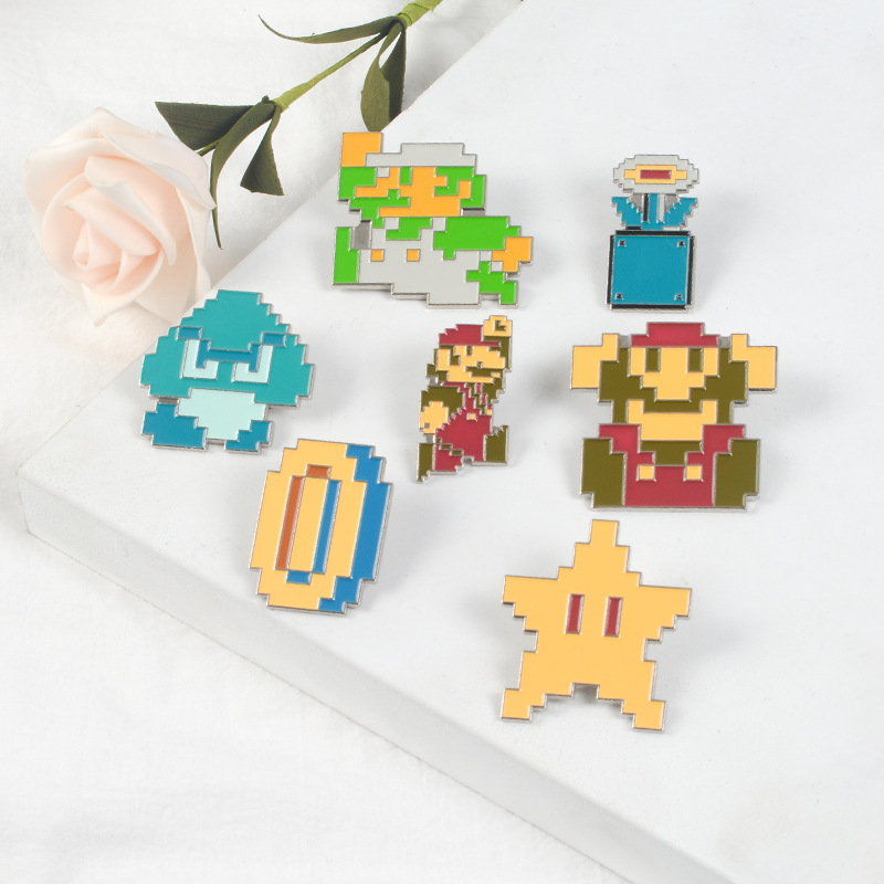 Pixelated Super Mario Kart Enamel Pin Comics Video Game Lapel Pins Badge Button Pin for Shirt Coat Bag Cartoon Brooch Gift