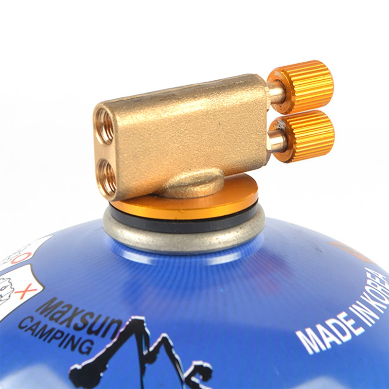 YGSAT 2 PCS Golden Camping Gas Adapter Outdoor Camping Stove Gas Bottle Adaptor Split Burner Oven Gas Connector for Hiking and Camping Gas Burner