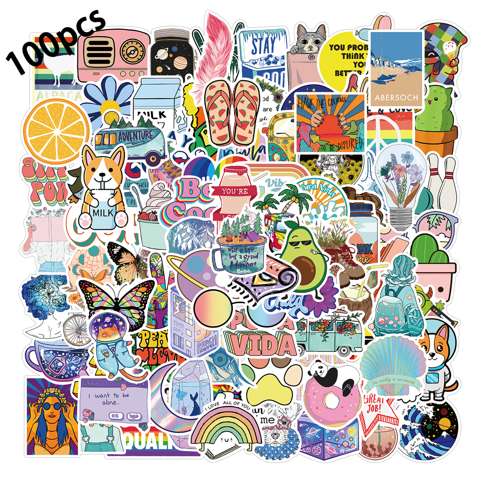 10/50/100pcs VSCO Vinyl Stickers Girl Essential Stuff for Water Bottles Stickers Suitable for Luggage Laptop Trendy Stickers