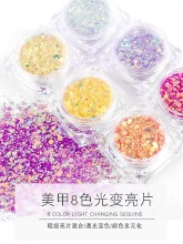 Thermal Shimmer Glitter Temperature Color Changing fine powder magic color glitter changing sequins size mixed 8 bottles