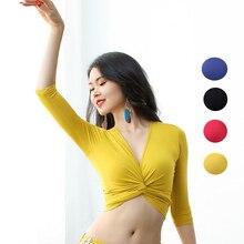 Костюм для танца живота, топы для танцев, Модальная одежда для восточных танцев, Женские топы для латинских танцев, тренировочные топы для йоги, сексуальные топы для танца живота, VDB1258
