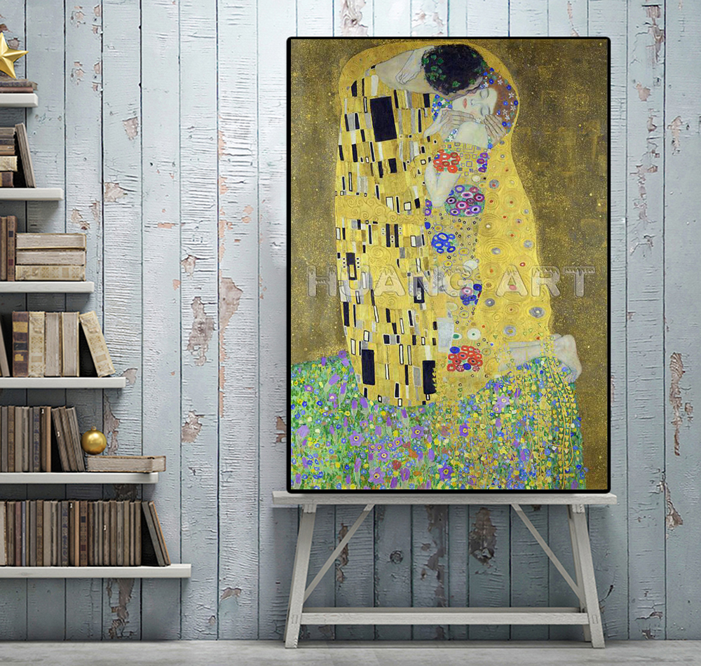 Famous High Quality KISS Painting Hand Painted Oil Painting on Canvas for Room Decor Imitation Painting Gustav Klimt Wall Art - 5