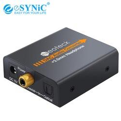 ESYNiC Coaxial Optical Toslink Digital para Analógico Conversor De Áudio Coaxial RCA R/L Adaptador de Áudio Jack de 3.5mm conversor DAC