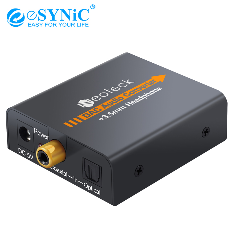 ESYNiC Digital To Analog Audio Converter Coax Coaxial Optical Toslink RCA To R/L Audio Adapter 3.5mm Jack Converter DAC