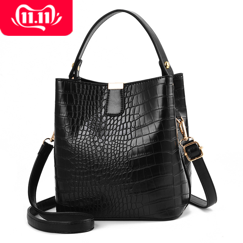 Retro Alligator Bucket Bags For Women Crocodile Pattern Handbag Capacity Casual Crocodile Shoulder Messenger Bags Ladies Bag