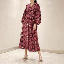 2019 Autumn Dress New Retro V-neck Lantern Long Sleeve Drawstring Flower Lace Long Dress Puff Sleeve Print Clothes Dresses plus flower applique lantern sleeve dress