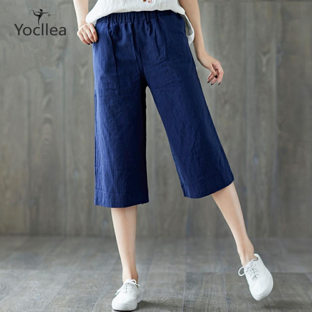Cotton and Linen loose plus size   Capris   Wide leg   pants   New 2020 summer casual   pants   women Trousers