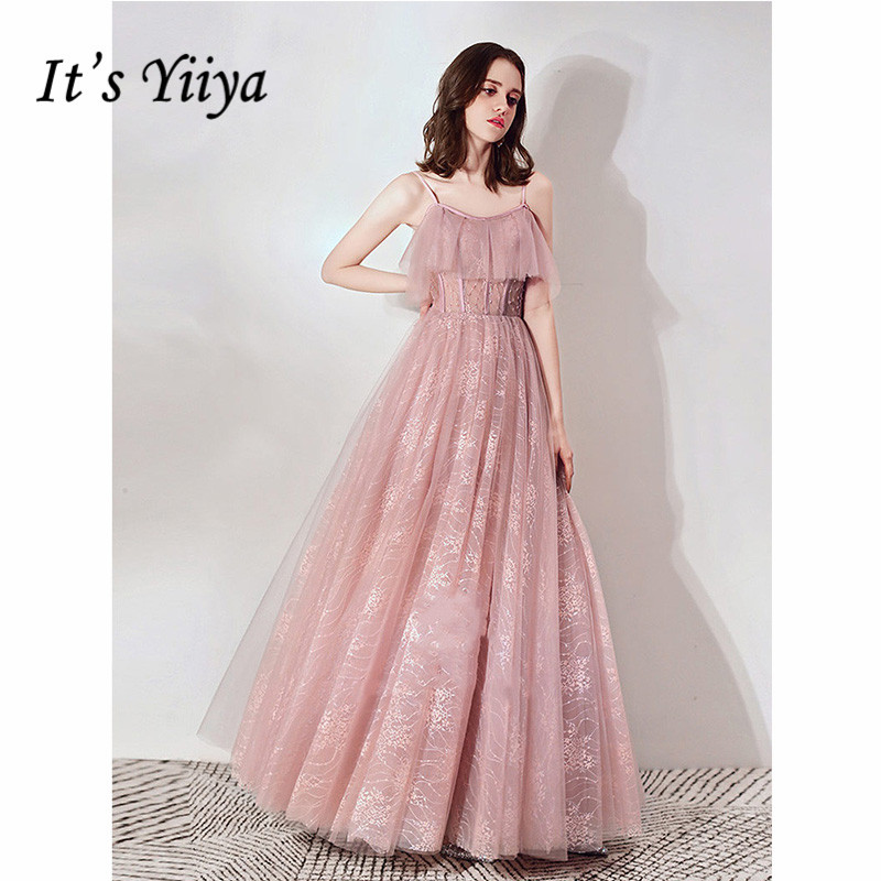 It's Yiiya Evening Dress 2019 Sleeveless Spaghetti Strap Women Party A-Line Dresses Elegant Illusion Formal Gown Plus Size E1101