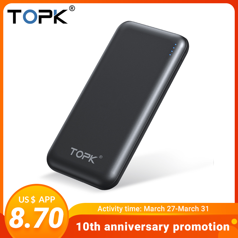 TOPK 10000mAh Power Bank USB Type C PD Fast Charge Powerbank External Battery Charger For Xiaomi Samsung IPhone