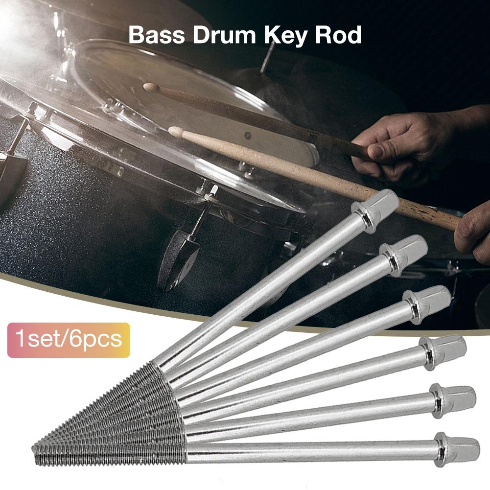 6PCS 110mm Drum Tension Rods Short Screws Bolts Hand Musical Percussion Replacement Parts Bass Drum Key Rod Long Screw