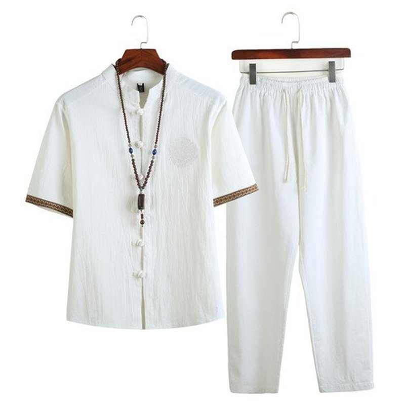 2020 Summer Mens Linen Shirt Sets Male Streetwear Jogger Sweatsuits Shirts+Long Pants Chinese Tracksuit For Men 2 Pieces Set 5XL