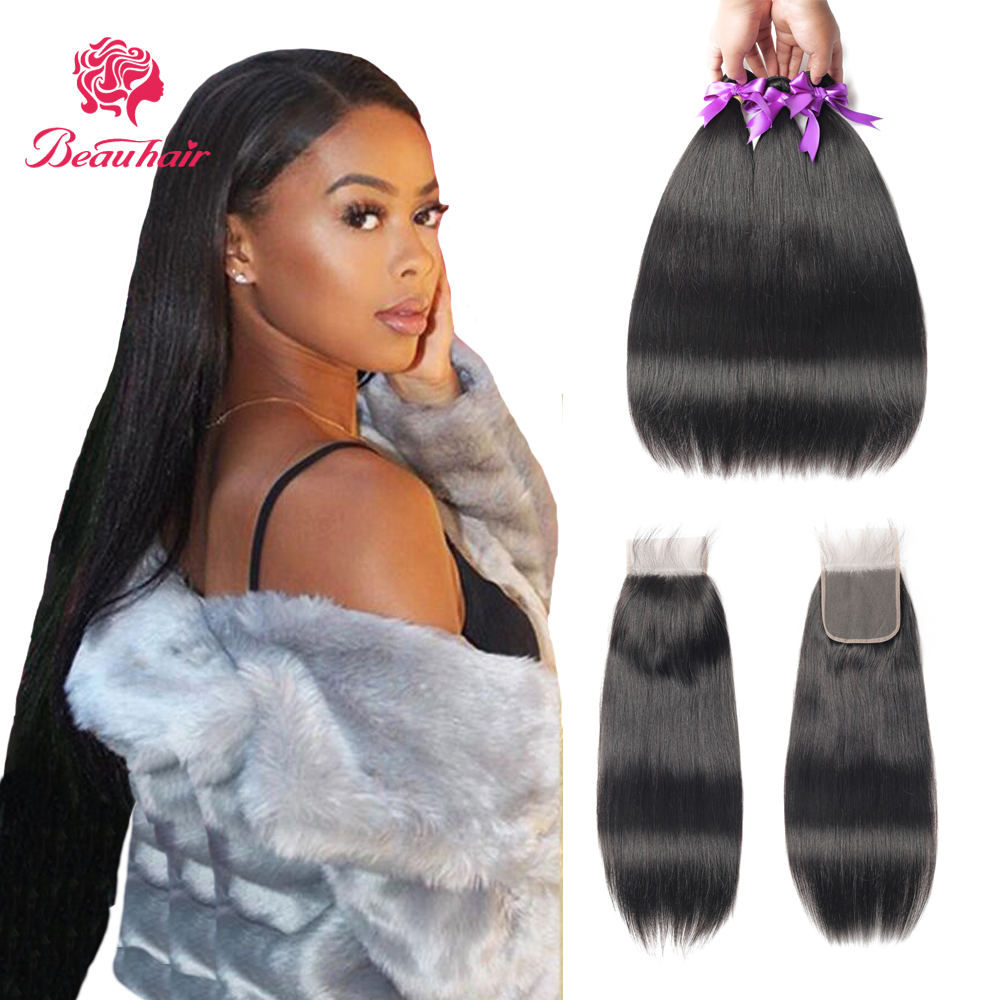 Straight Bundles With Lace Closure Brazilian Human Hair Bundles With 4x4 Lace Closure Pre-plucked With Baby Hair For Women