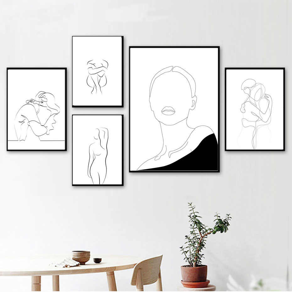 Abstract Line Drawing Love Girl Figure Wall Art Canvas Painting Nordic Posters And Prints Wall Pictures For Living Room Decor