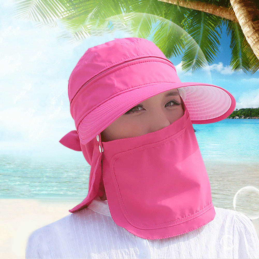 Fashion New Style Summer Women's Foldable Solid Color Sun Hat UV Protection Wide Brim Hat Face Neck Protection Outdoor Cap