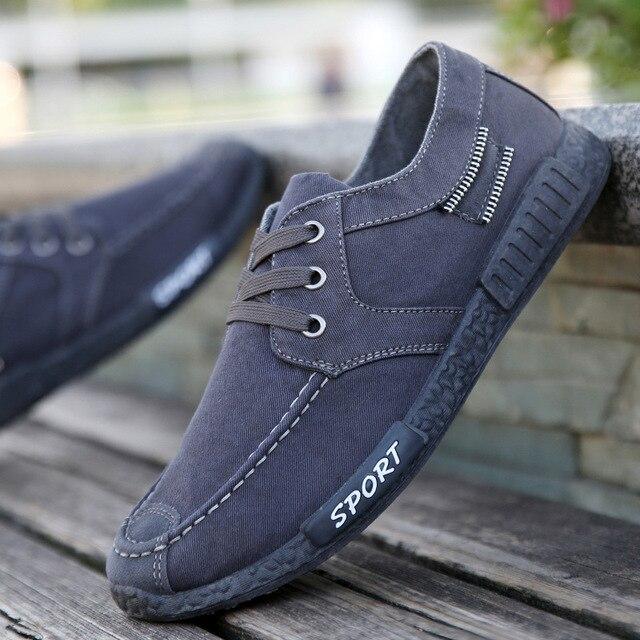 Lace-up Canvas Sneakers Men Shoes color: Black|Blue|Gray