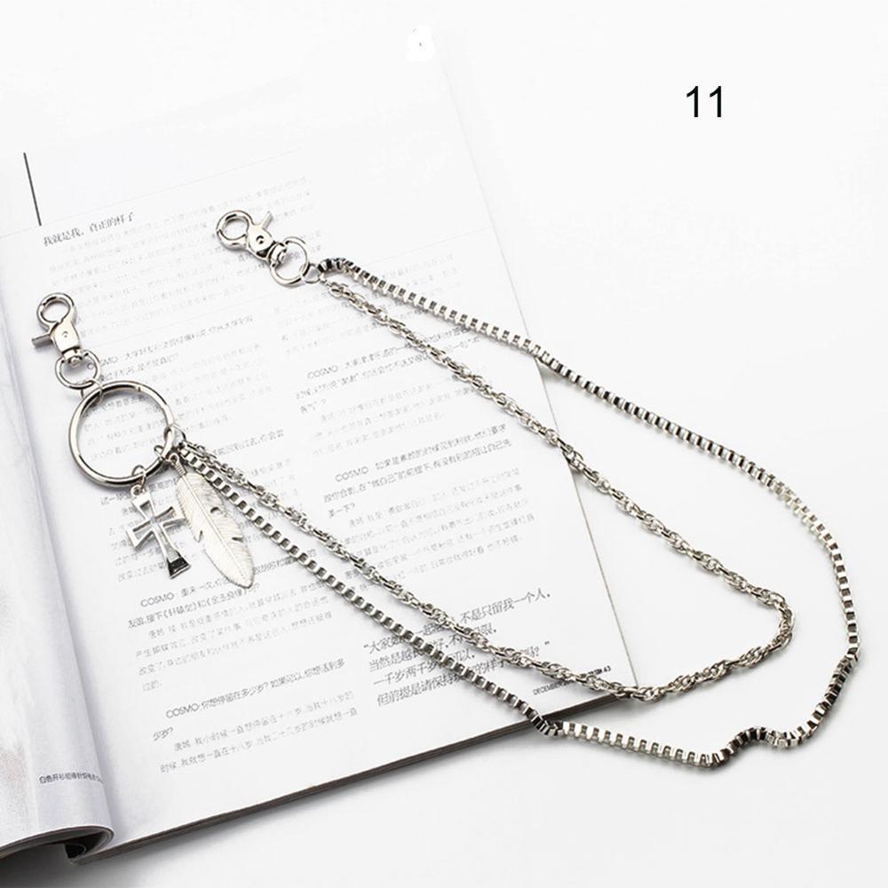 1-3 слоя рок-панк крюк брюк Брюки Пояс металлический кошелек серебряная цепь хип-хоп цепи ремни для женщин брюки аксессуары - Цвет: 11