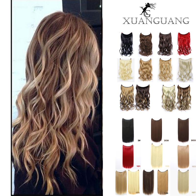XUANGUANG 24 Inches Wave Hair Extensions With A Fish Line Through No Clips In Hair Extensions Secret Fish Line Hair Pieces