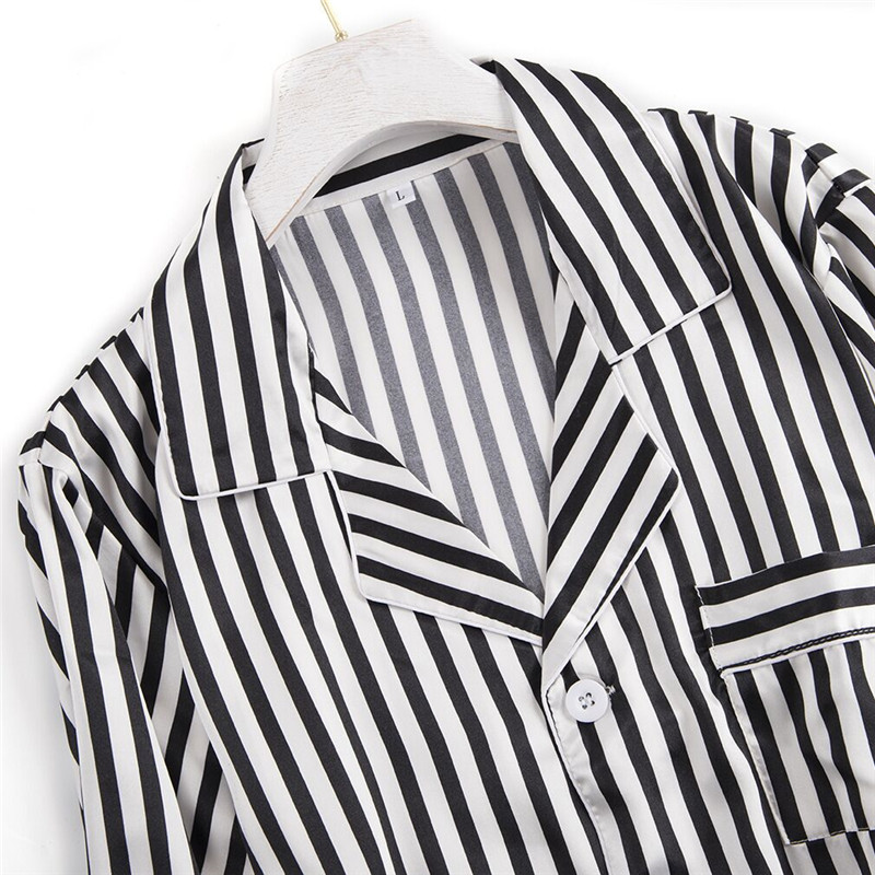 Image 5 - Black white stripes pajama sets women long sleeve casual sleepwear fashion women pyjamas autumn homewear hot sale 2019Pajama Sets   -