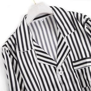 Image 5 - Black white stripes pajama sets women long sleeve casual sleepwear fashion women pyjamas autumn homewear hot sale 2019