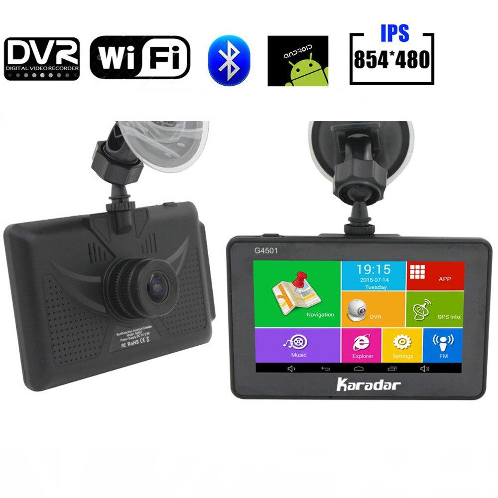 Karadar voiture tableau de bord caméra GPS Navigation Android 4.4.2 avec Wifi g-sensor Full HD1080P caméra véhicule voiture DVR mise à jour gratuite de la carte
