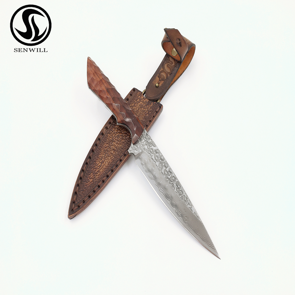 9inch Outdoor Tactical Knives Straight Blade Hunting Knife  VG10 Damascus Steel Fixed Blade knives Rose Wood Handle