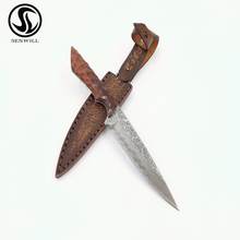 9inch Outdoor Tactical Knives Straight Blade Hunting Knife  VG10 Damascus Steel Fixed knives Rose Wood Handle