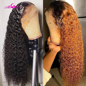 Ali Coco 4x4 /13x4 Curly Human Hair Lace Front Wigs 150% 1B/350 /Orange Ginger Ombre Color Brazilian Remy Curl Wigs Pre Plucked(China)