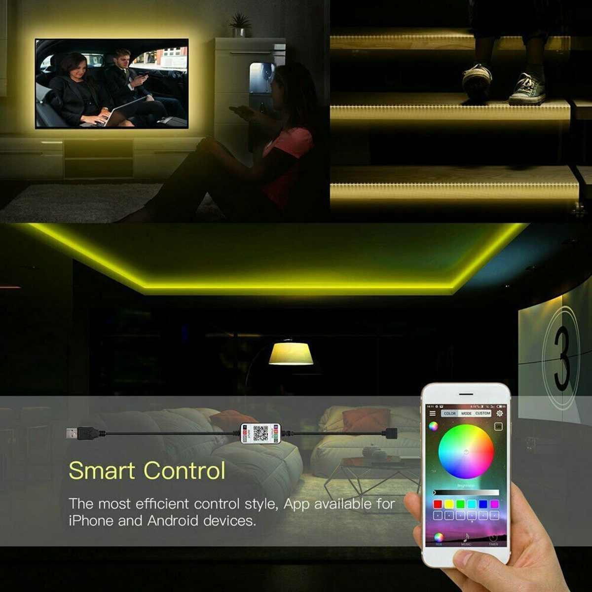 5V USB Power Bluetooth Lampu LED Strip 5050 RGB 60LED/M Musik Remote APP Kontrol TV Backlight flexible Light Tape IP67