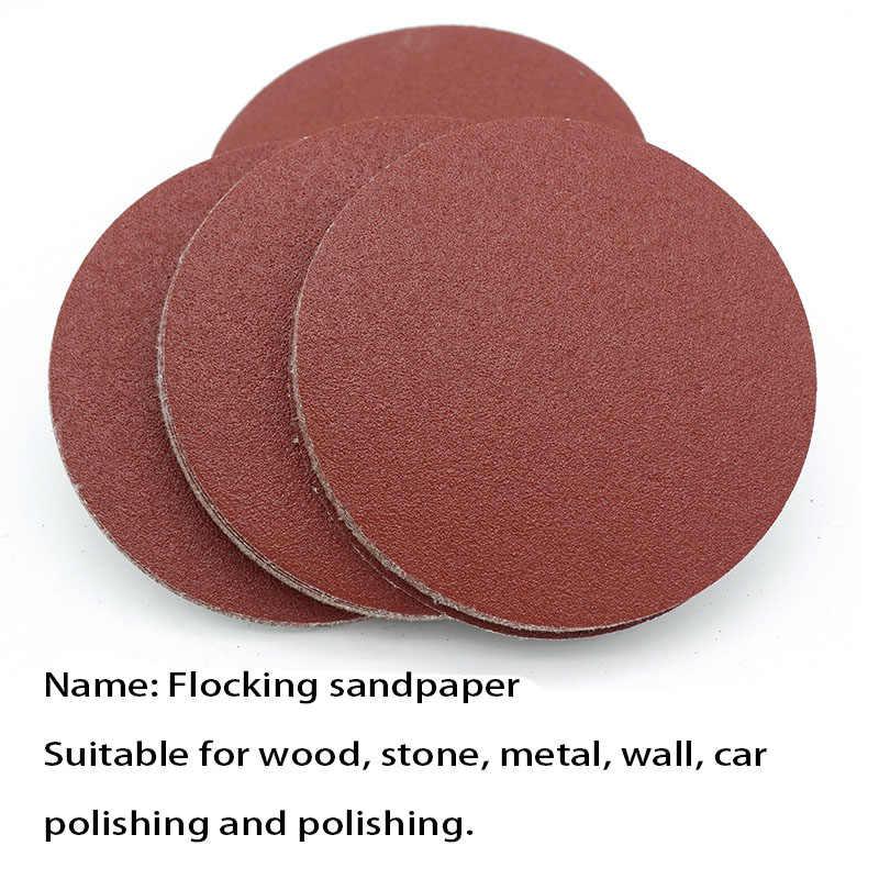 คุณภาพสูง 10PCS 125MM flocking กระดาษทราย 5 นิ้วแผ่นกระดาษทราย self-adhesive ถาดทรายแปรงด้านหลังกำมะหยี่กระดาษทราย