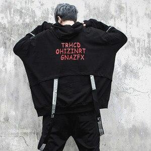 Image 3 - Mannen oversized lange mouwen t shirt linten hip hop punk mantel heren nachtclubzangeres stadium kostuum hooded shirts streetwear