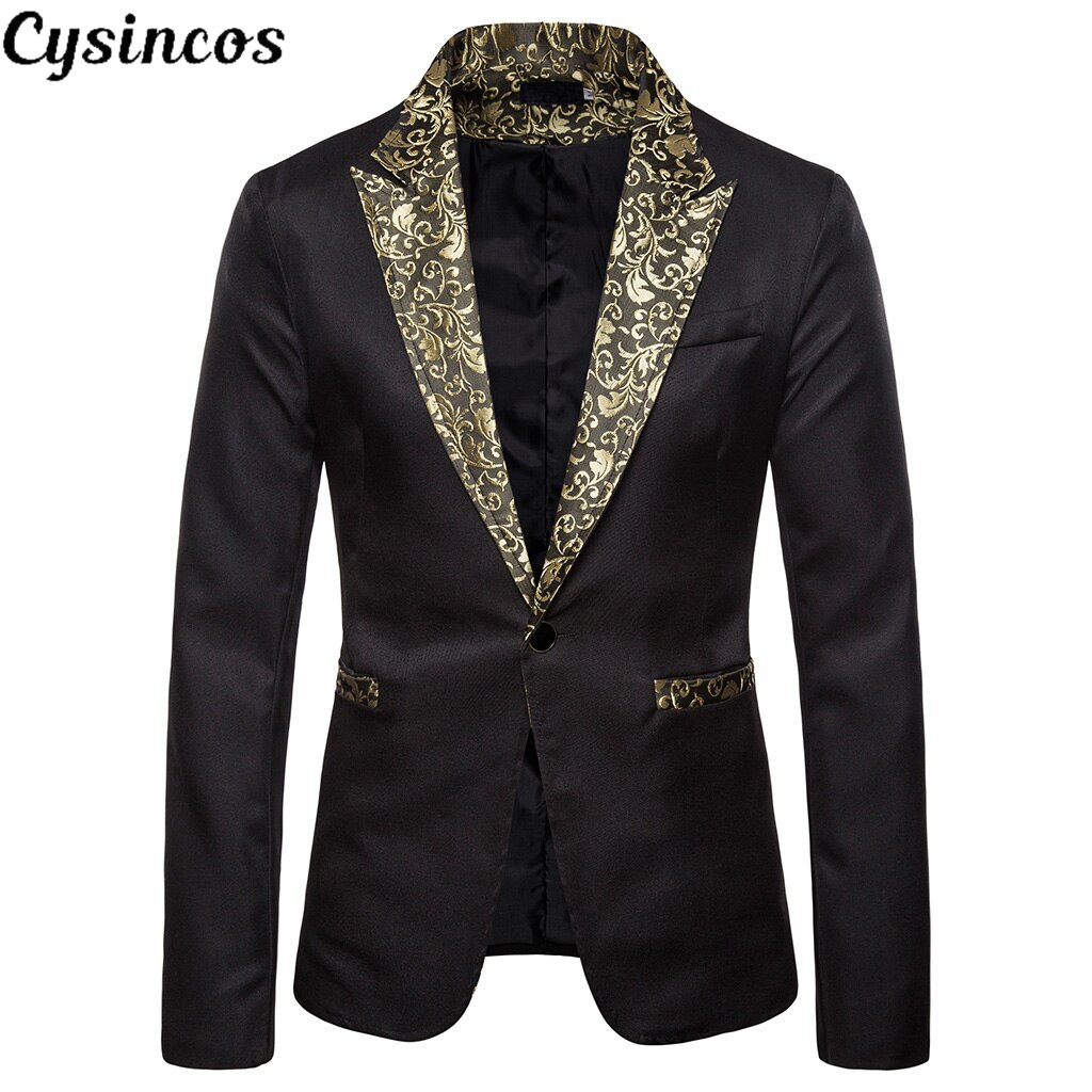 CYSINCOS 2019 Autumn Shiny Gold Sequin Glitter Embellished Blazer Men Nightclub Prom Suit Blazer Men Costume Homme Stage Clothes
