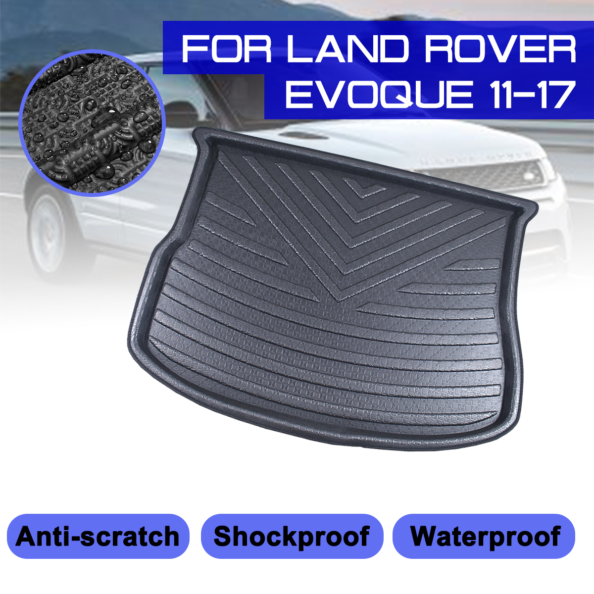 For Land Rover Evoque 2011 2012 2013 2017 Car Rear Trunk Boot Mat Waterproof Floor Mats Carpet Anti Mud Tray Cargo Liner|  - title=