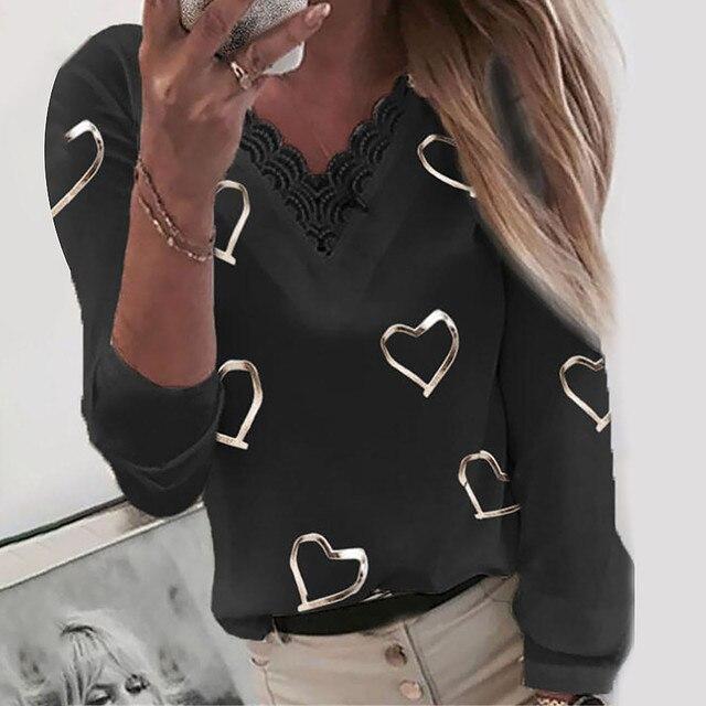 Camisas de encaje con estampado de corazones para mujer, Tops de retales de manga larga con cuello en V, blusa Harajuku elegante de talla grande, blusa, pulóver 4