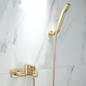 Tuqiu zestaw do wanny i prysznica naścienny szczotkowane złoto do kąpieli i pod prysznic kran łazienka zimna i ciepła do kąpieli i pod prysznic bateria natryskowa z kranu mosiądz tanie i dobre opinie YS-SF209082 Współczesna Zimnej i Ciepłej Stała typu wsparcie Pojedynczy uchwyt podwójna kontrola ceramic Polerowane
