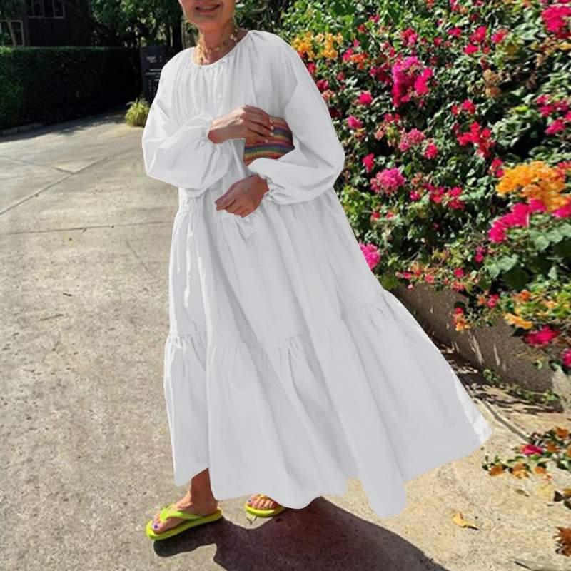 Пляжное длинное платье vonda 2021 повседневное женское однотонное