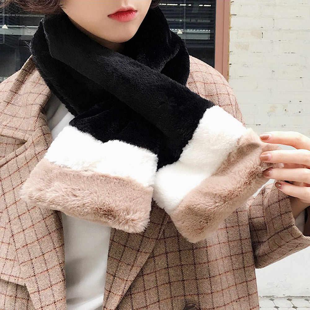 #40 kış Kadın Eşarp Lüks Kış sıcak Eşarp Moda Kalınlaşmak Kürk Taklit Kürk Çim Eşarp Panuelos De Mujer Para el Cuello