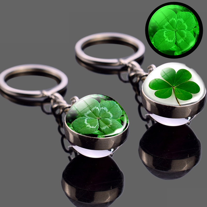 Glowing Clover Keychain Four Leaf Clover Luminous Glass Ball Key Chain Keyring Lucky Jewelry St Patricks Day Gifts Irish Pendant