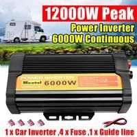 12000W Solar Power Inverter 12V to 110V 6000WCar Inverter Charger Converter Adapter Modified Sine Wave Transformer