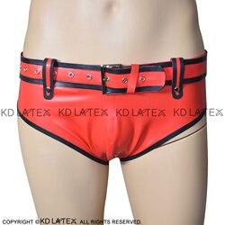 Rood Met Zwarte Versieringen Sexy Latex Slips Met Riemen Rubber Boy Shorts Underpants Ondergoed Slips DK-0105