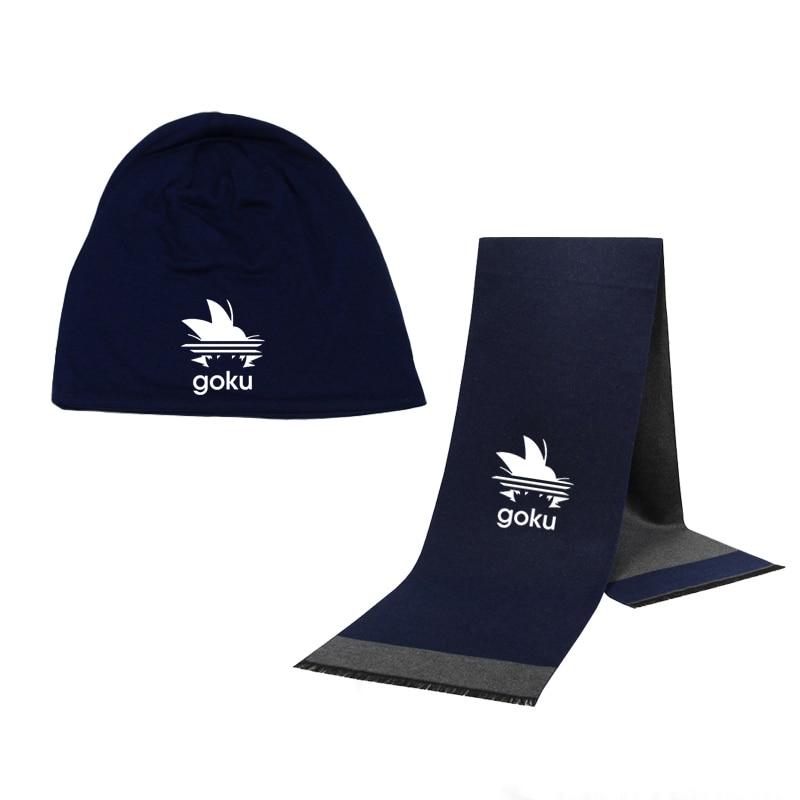 Winter Beanie Hat Dragon Ball Z Goku Men Hat Scarf Solid Color Warm Cotton Scarf Hat Set Male Sports Hat Scarf Set 2Pcs