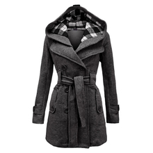 New Ladies Hooded Coat Slim Double-Breasted Belt Jacket Autumn Winter Wool Blend Casual Solid Color Warm