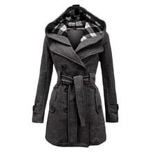купить New Ladies Hooded Coat Slim Double-Breasted Belt Hooded Jacket Autumn Winter Wool Blend Casual Solid Color Coat Ladies Warm Coat дешево
