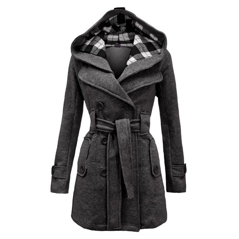 New Ladies Hooded Coat Slim Double-Breasted Belt Hooded Jacket Autumn Winter Wool Blend Casual Solid Color Coat Ladies Warm Coat