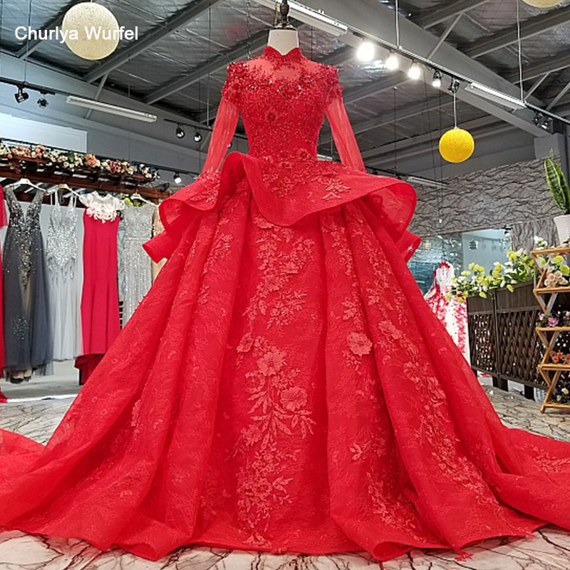 LS0993 red high neck brides wedding party dresses long tulle sleeve lace up back beauty cheap evening dress real price as photosEvening Dresses   -