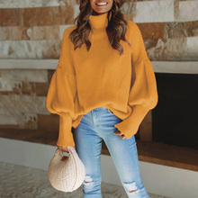 Sweater Women Lantern Sleeve Casual Loose Knitted Turtleneck Sweater Solid Color Fashion Jumper Pullover Tops lantern sleeve plain pullover sweater