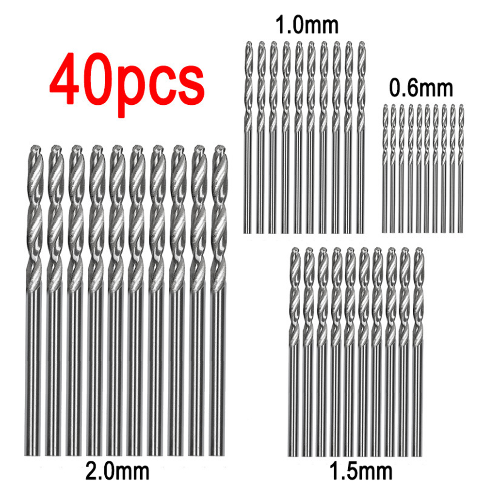 40 Pcs Straight Shank Twist Drill Bits Mini Drill High Speed Steel HSS Bit 0.5mm-2.0mm Straight Shank HSS Twist Drill Bits Set