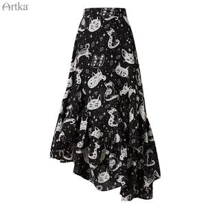 Image 5 - ARTKA 2020 Spring New Women Skirt Fashion Cat Print Skirt Irregularly Design Chiffon Skirts Elegant Ruffled Skirt Women QA15297Q